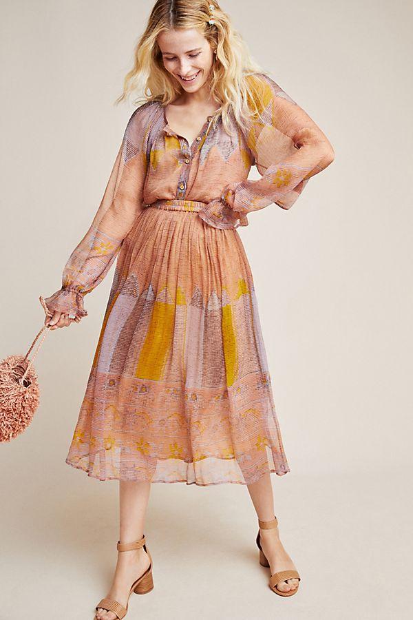 Slide View: 1: Laurentia Patchwork Silk Skirt