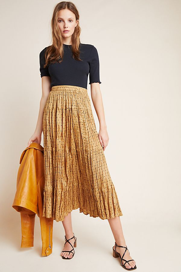 Slide View: 1: Leonora Tiered Silk Maxi Skirt