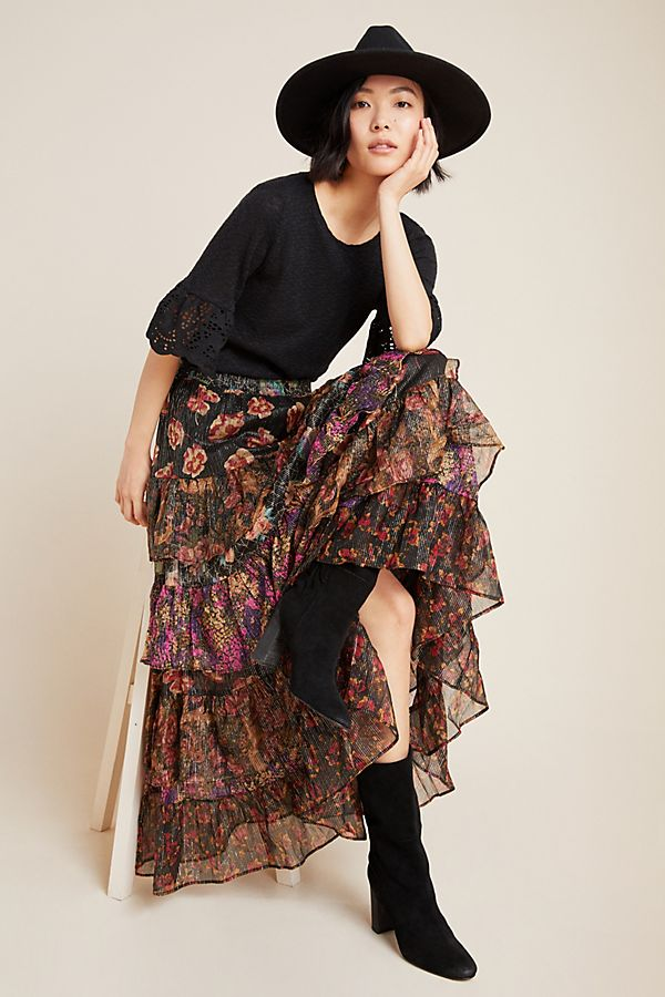 Slide View: 1: Greta Tiered Maxi Skirt