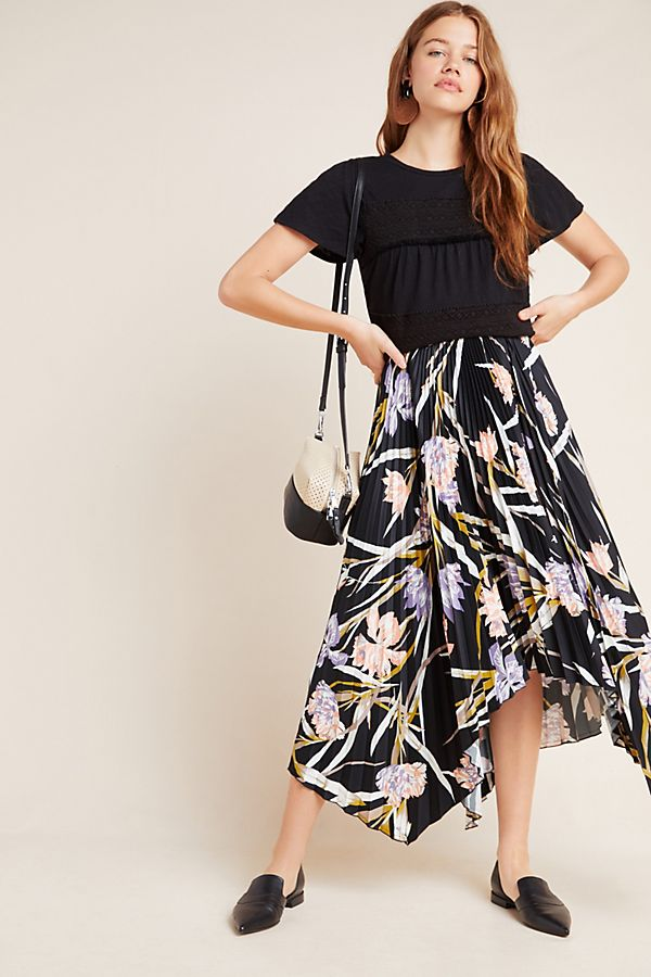 Slide View: 1: Corey Lynn Calter Pleated Floral Midi Skirt