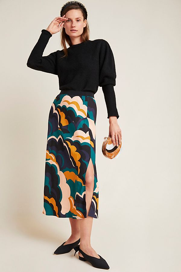 Slide View: 1: Corey Lynn Calter Abstract Bias Midi Skirt