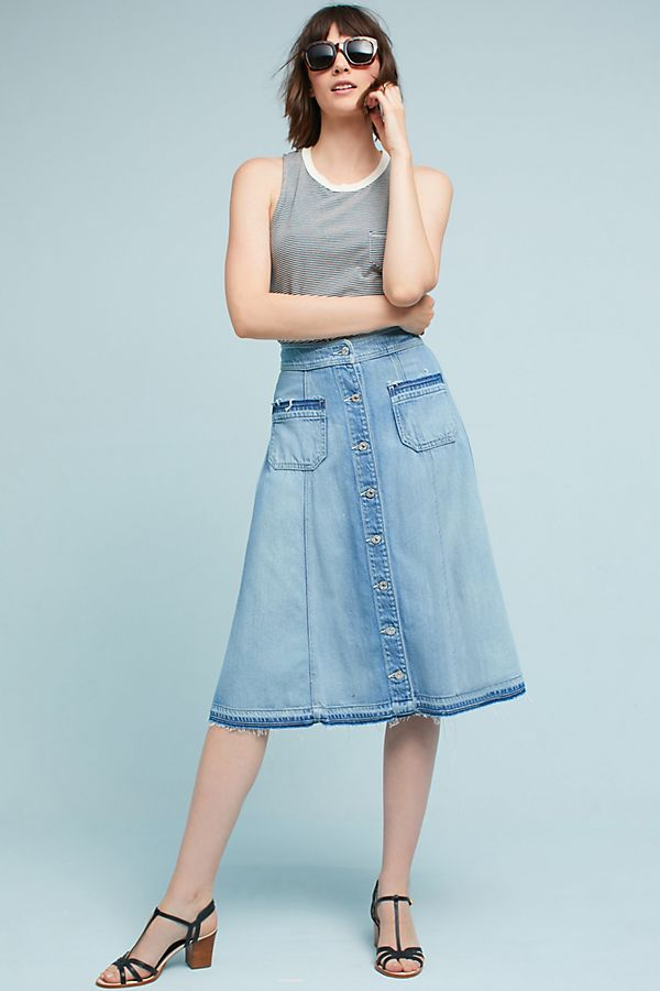86296e08e5faa Button Front Denim Midi Skirt