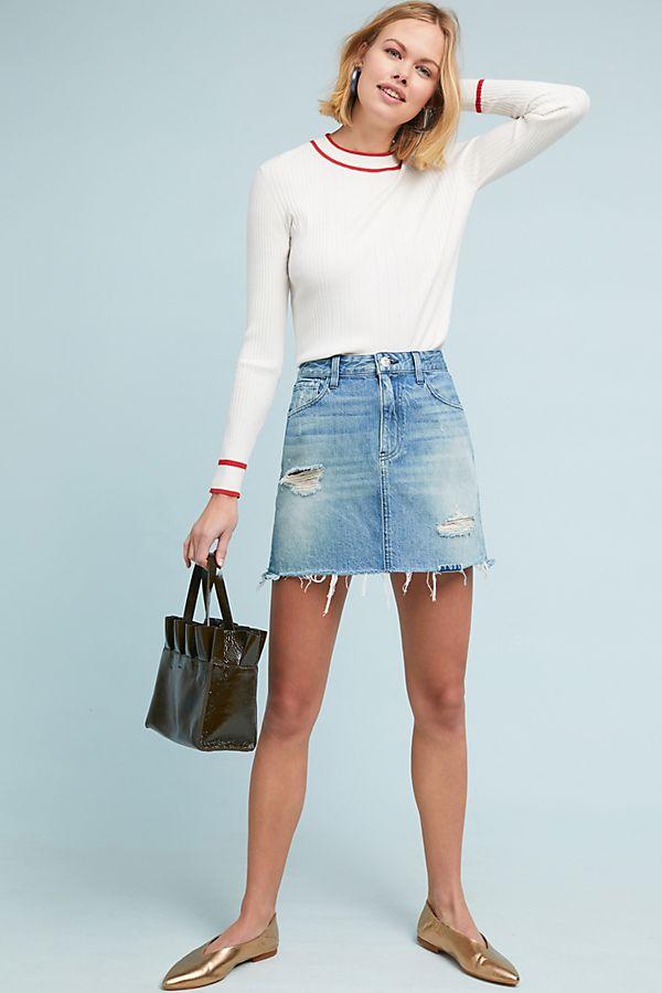 29022c6f48 3x1 NYC Celine Distressed Denim Skirt | Anthropologie