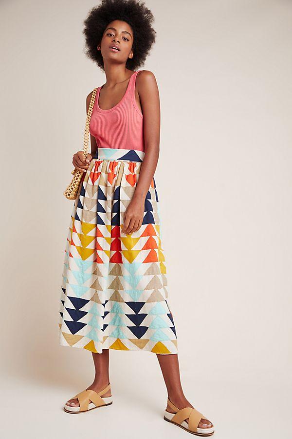 Slide View: 1: Gianna Abstract Maxi Skirt