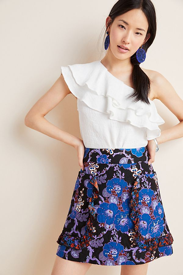 Slide View: 1: Anna Sui Jacquard Mini Skirt