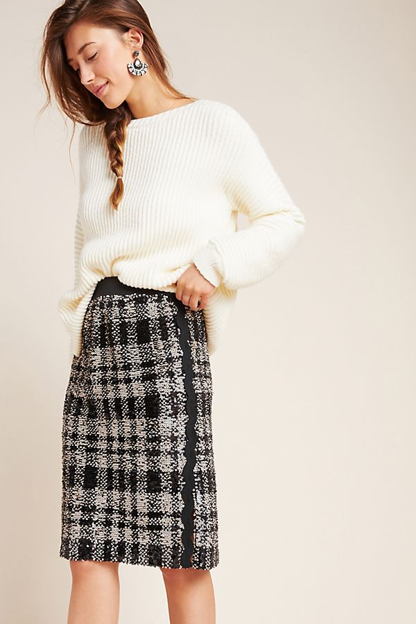Slide View: 1: Anna Sui Alice Plaid Sequin Pencil Skirt