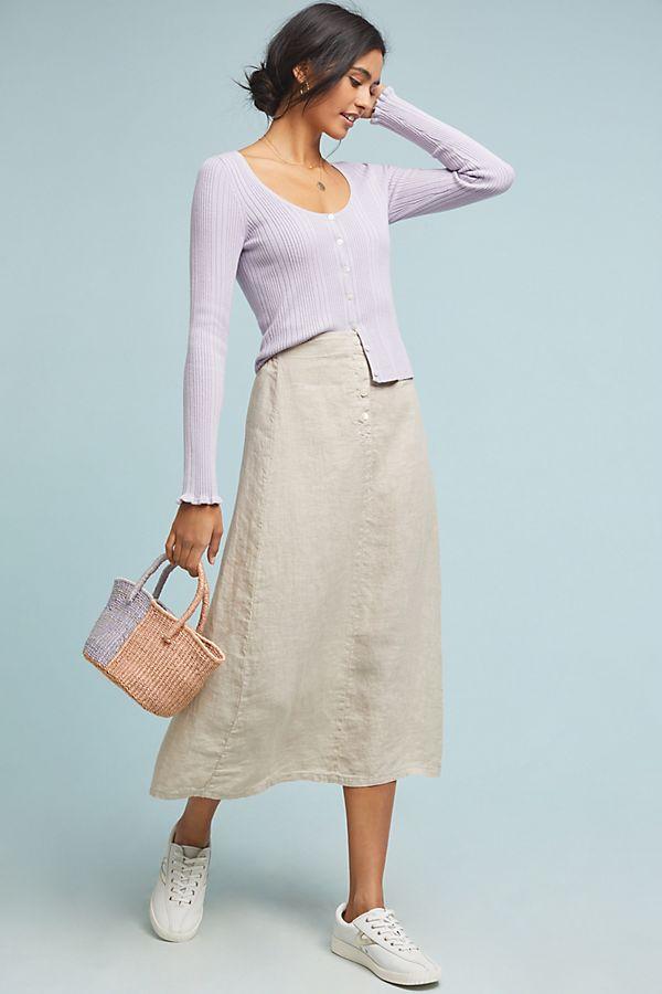 Slide View: 1: Kiara Linen Midi Skirt