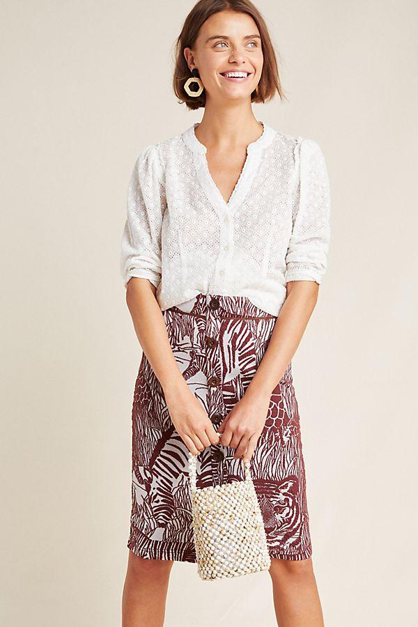 Slide View: 1: Jillian Knit Pencil Skirt