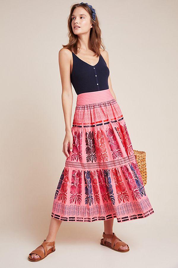 Slide View: 1: Auberte Poplin Tiered Midi Skirt