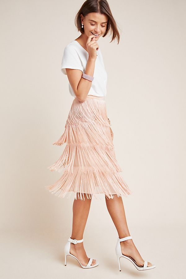 Slide View: 1: Velma Fringed Midi Skirt