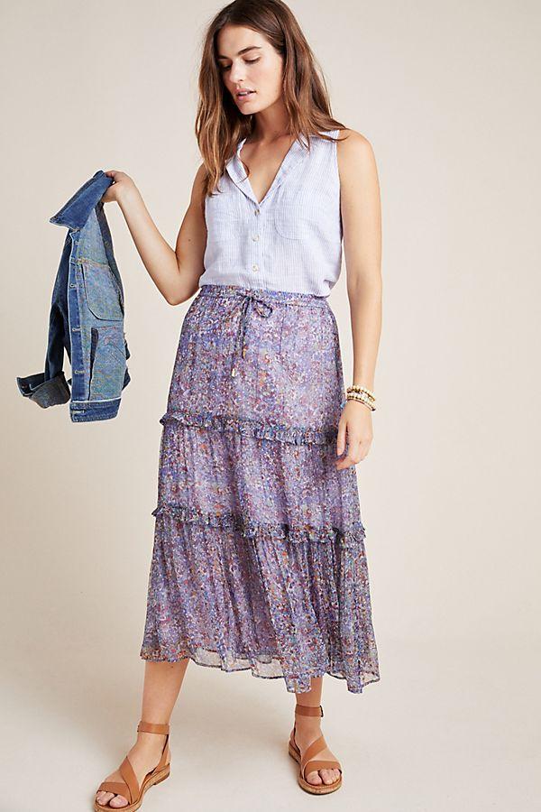 Raya Tiered Printed Midi Skirt by Maeve