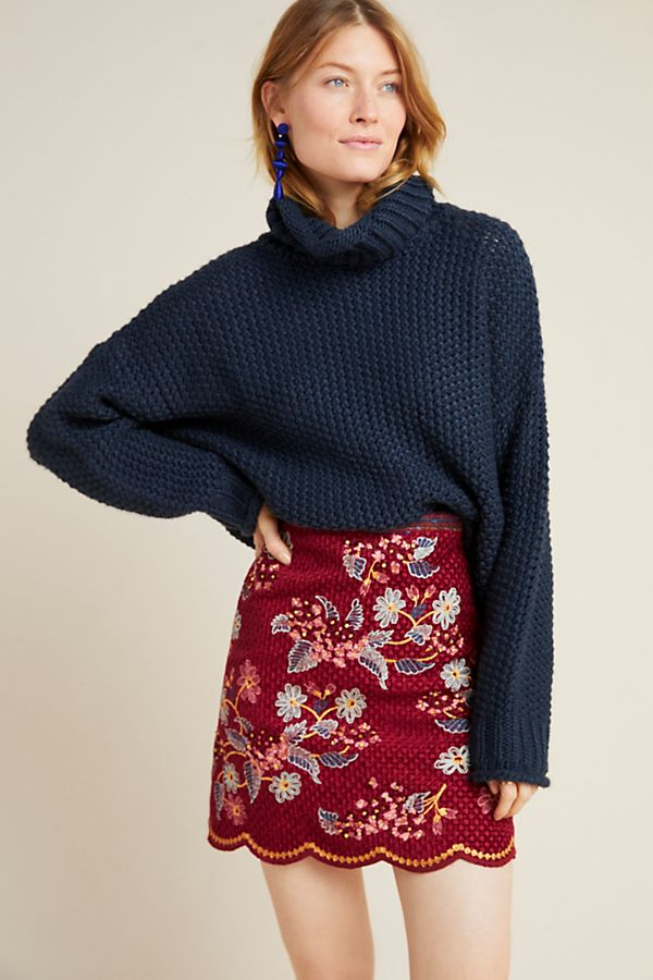 Slide View: 1: Catie Textured Mini Skirt