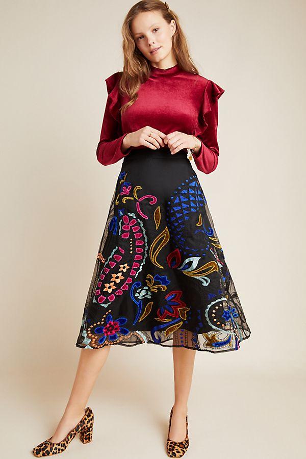 Slide View: 1: Amber Velvet Applique Midi Skirt