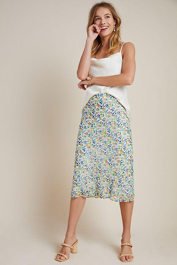 Slide View: 1: Ara Beaded Bias Midi Skirt