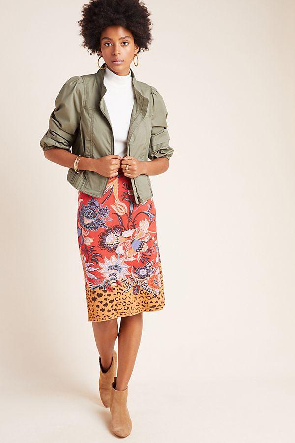 Slide View: 1: Delphinia Knit Pencil Skirt