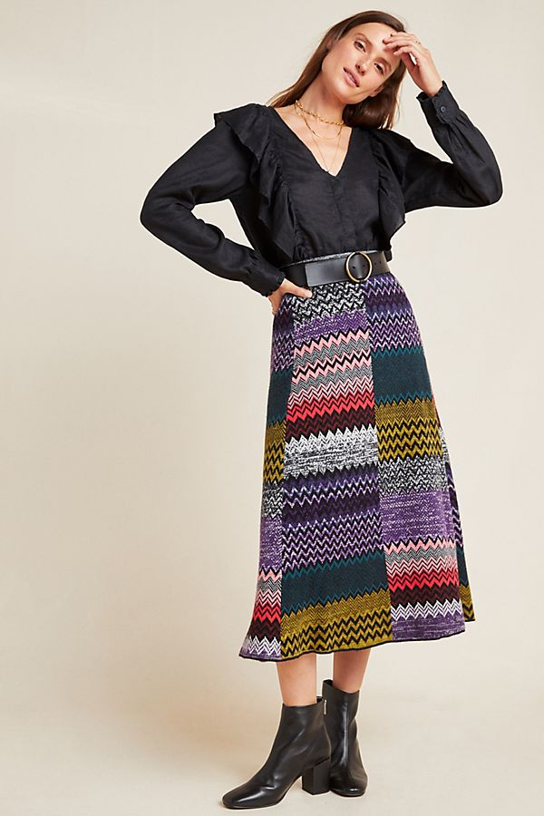 Slide View: 1: Patchwork Knit Midi Skirt