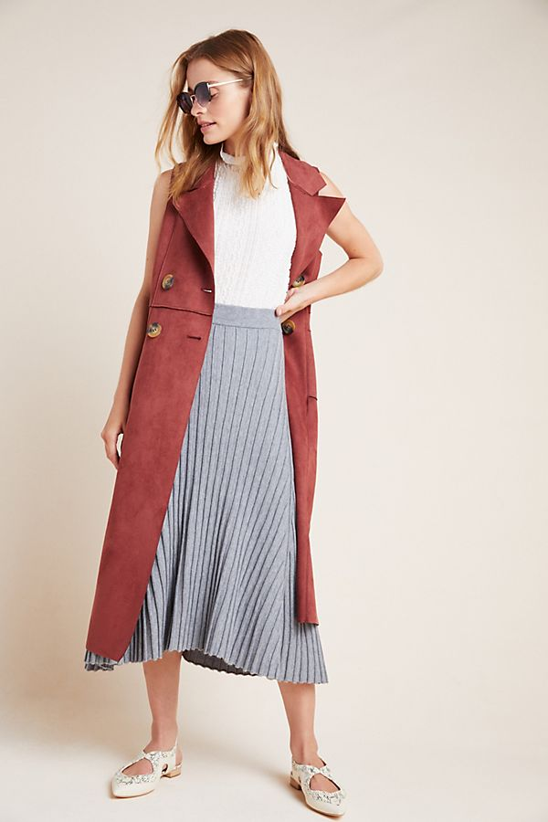 Slide View: 1: Josefine Ribbed A-Line Midi Skirt