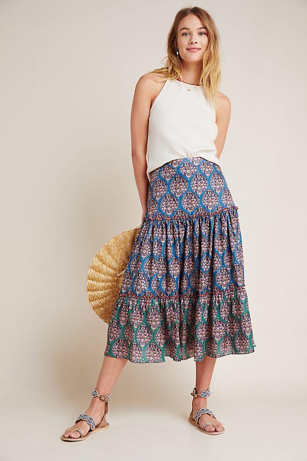Slide View: 1: Kai Tiered Maxi Skirt