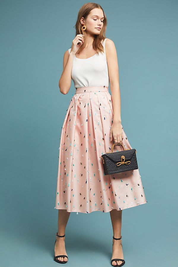 Creative Anthropologie Khaki Fit And Flare Skirt Selling Well All Over The World Women's Clothing Skirts
