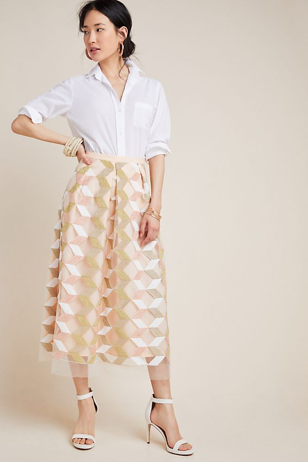 Slide View: 1: Arabella Embroidered Tulle Midi Skirt