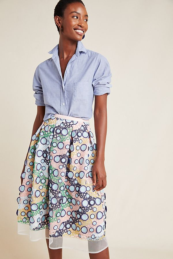Slide View: 1: Lucy Embroidered Tulle Midi Skirt