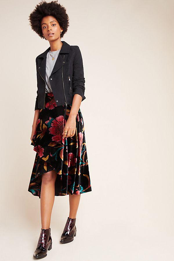 Slide View: 1: Velvet Wrap Skirt