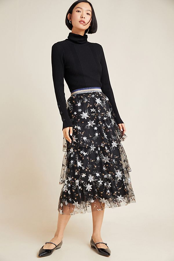 Slide View: 1: Margot Tulle Midi Skirt