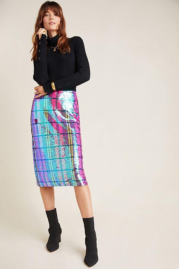 Slide View: 1: Eva Franco Dione Sequined Pencil Skirt