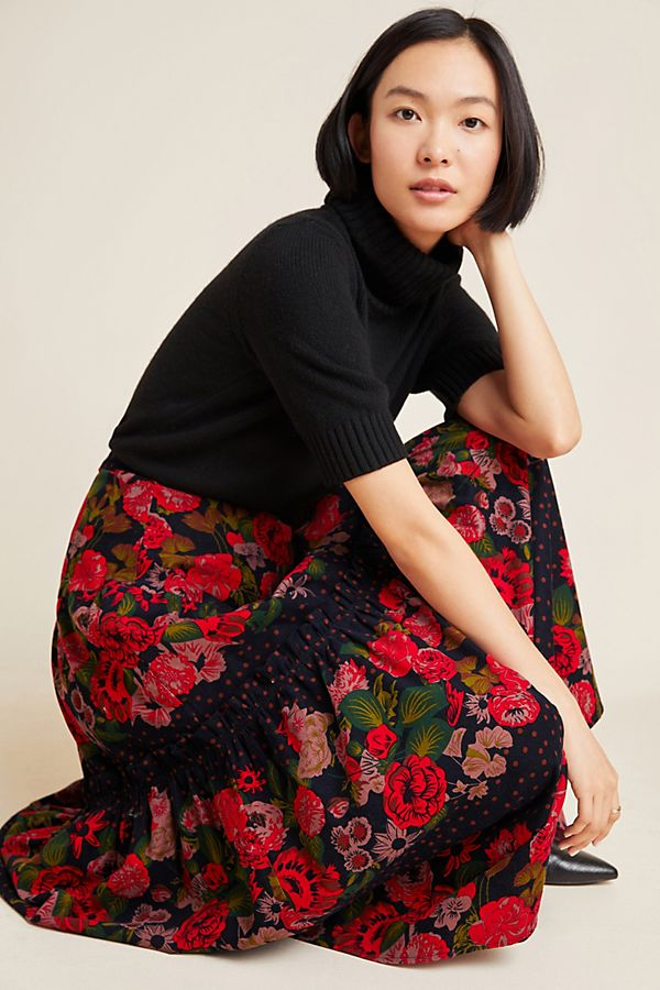 Slide View: 1: Danette Tiered Corduroy Maxi Skirt