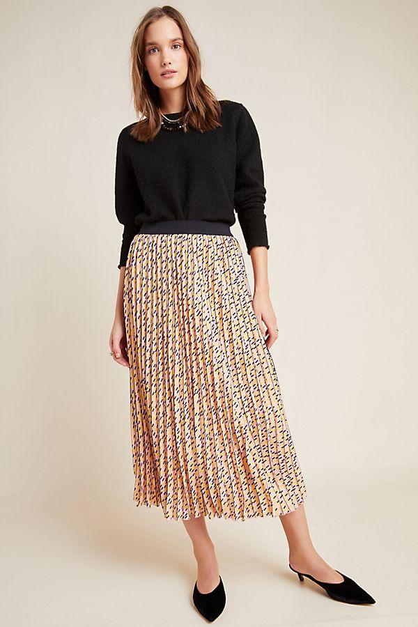 Slide View: 1: Victorine Pleated Midi Skirt