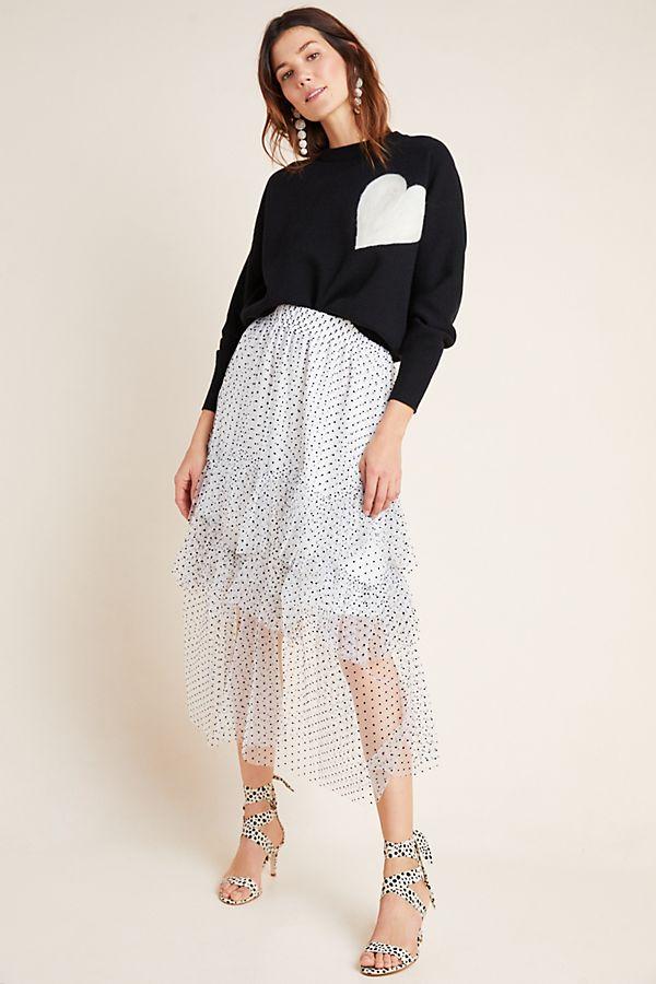 Slide View: 1: Lukjana Tiered Tulle Maxi Skirt