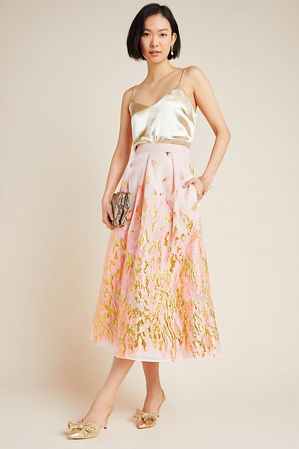Slide View: 1: Soleil Jacquard Maxi Skirt