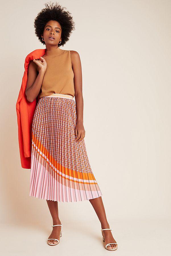 Slide View: 1: Edwina Pleated A-Line Midi Skirt