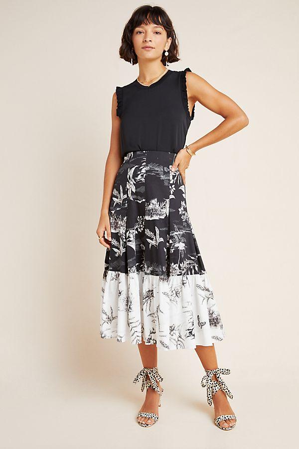 Slide View: 1: Paola Flounced Midi Skirt