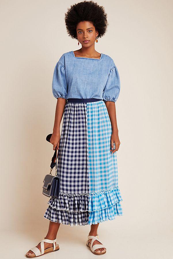 Slide View: 1: Gigi Ruffled Gingham Maxi Skirt