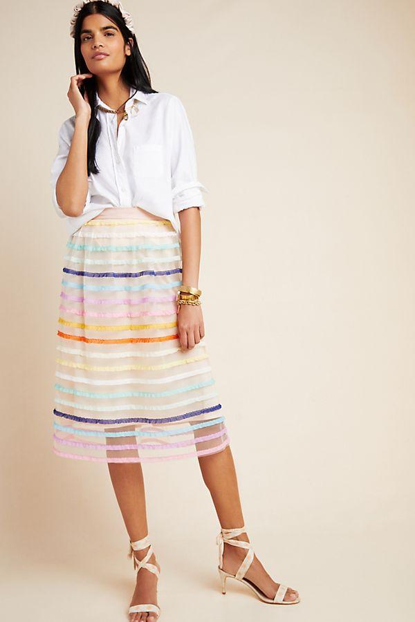 Slide View: 1: Frankie Textured Tulle Midi Skirt