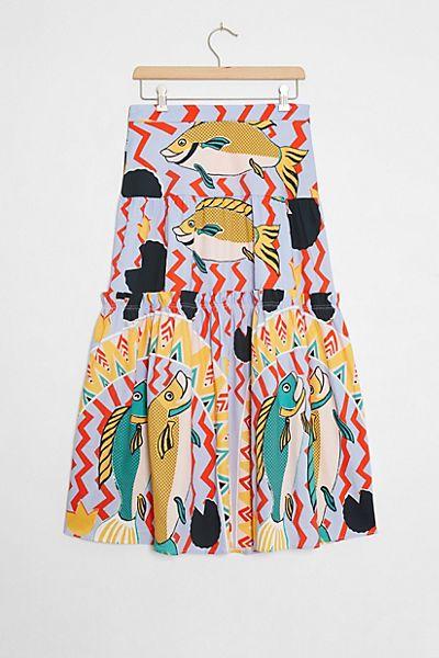 Oceane Tiered Midi Skirt