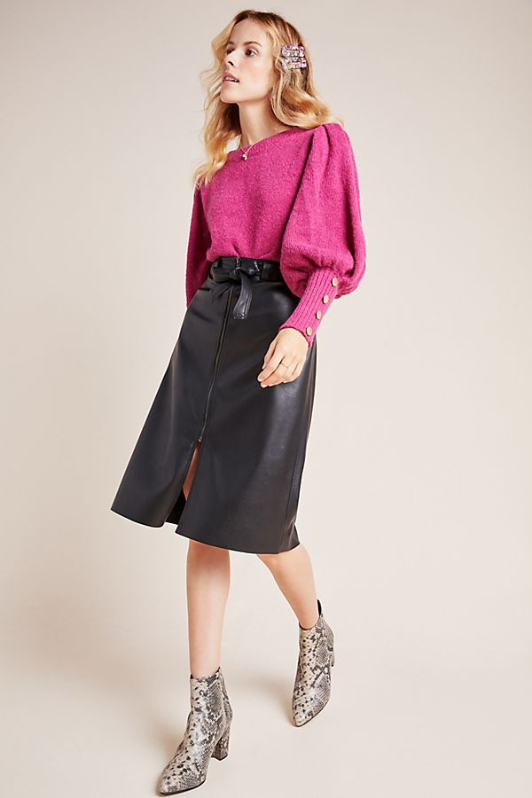 Slide View: 1: Marceline Faux Leather A-Line Midi Skirt