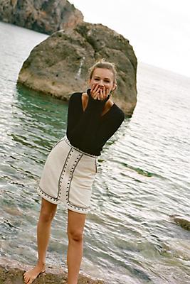 Slide View: 1: Tulley Textured Mini Skirt