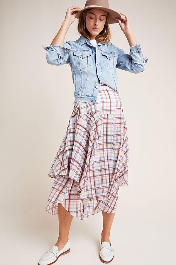 Slide View: 1: Frances Plaid Midi Skirt