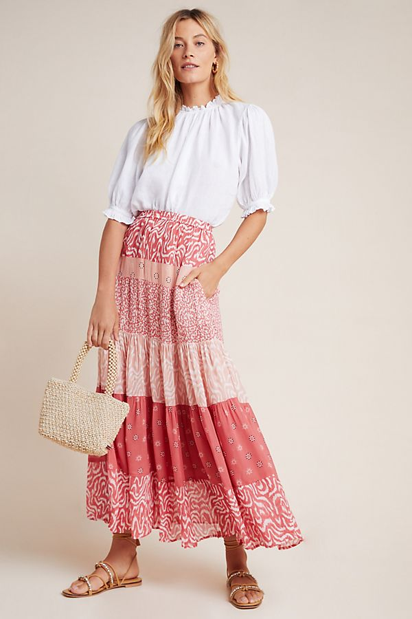 Slide View: 1: DOLAN Collection Drea Tiered Maxi Skirt