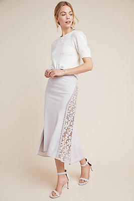 Slide View: 1: Byron Lars Floral Midi Skirt