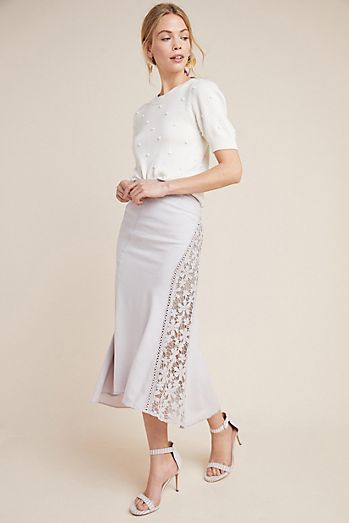 Byron Lars Floral Midi Skirt 095438056