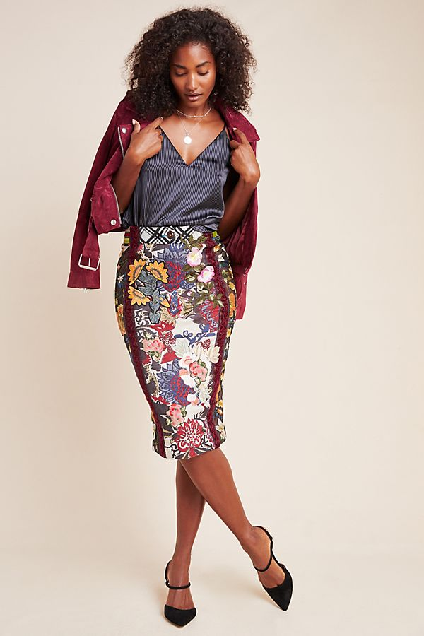 Slide View: 1: Byron Lars Jessica Floral Pencil Skirt