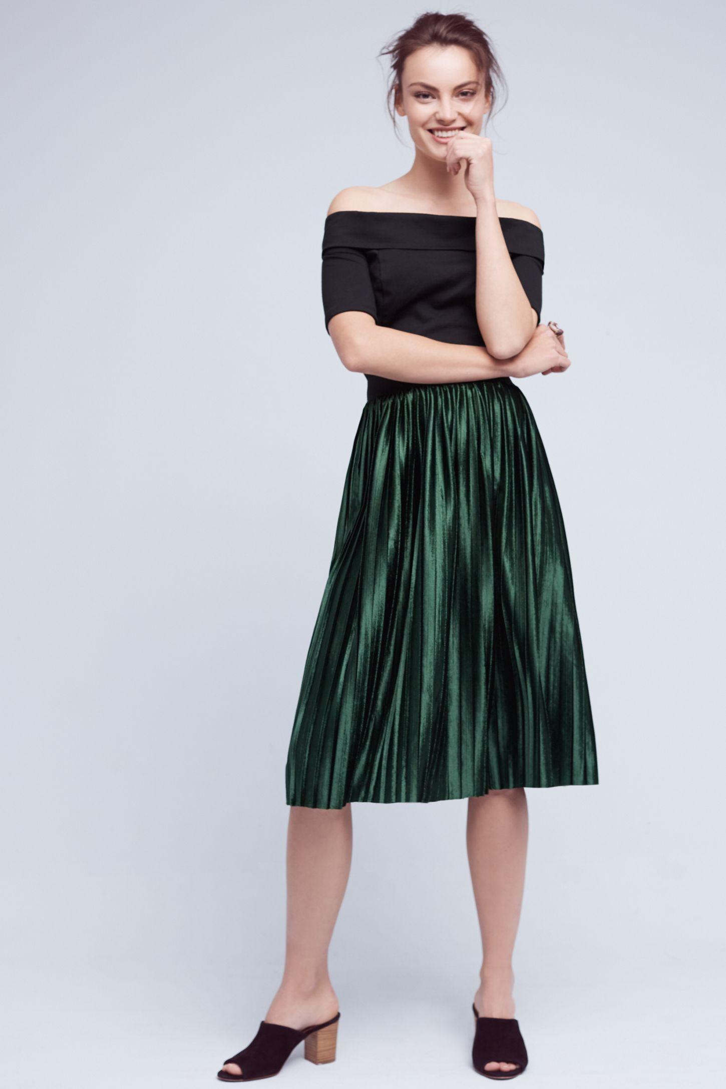 6e4078b21 Pleated Velvet Skirt