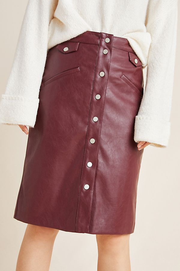 Slide View: 4: Veronica Buttoned A-Line Skirt