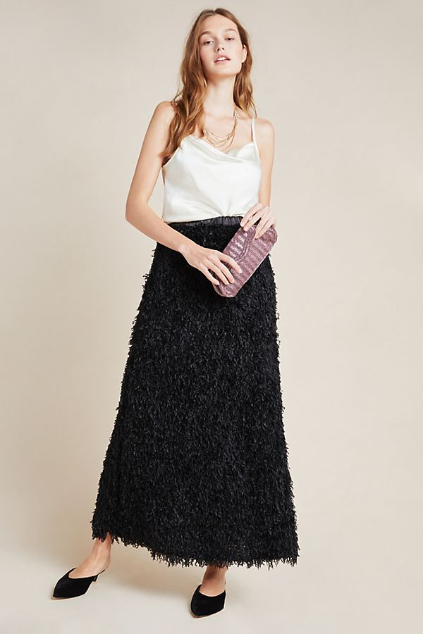 Slide View: 1: Chantal Feathered Maxi Skirt