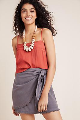 Slide View: 1: Cloth & Stone Carson Mini Wrap Skirt