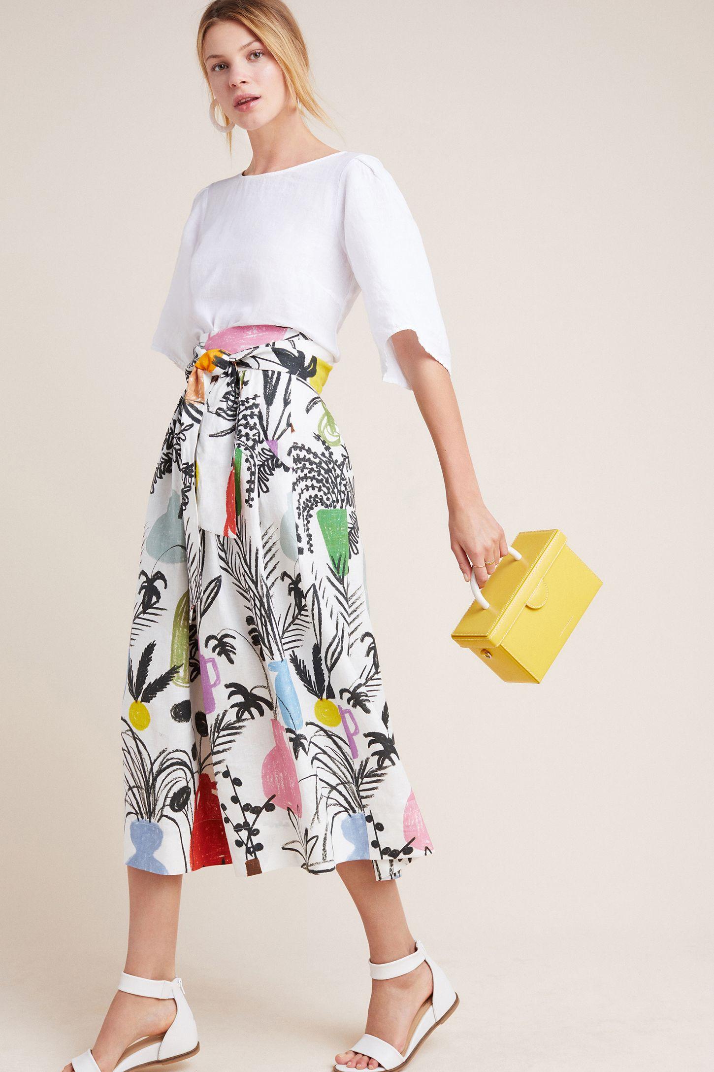 5c69eca71 WHIT Kimani Linen Midi Skirt | Anthropologie