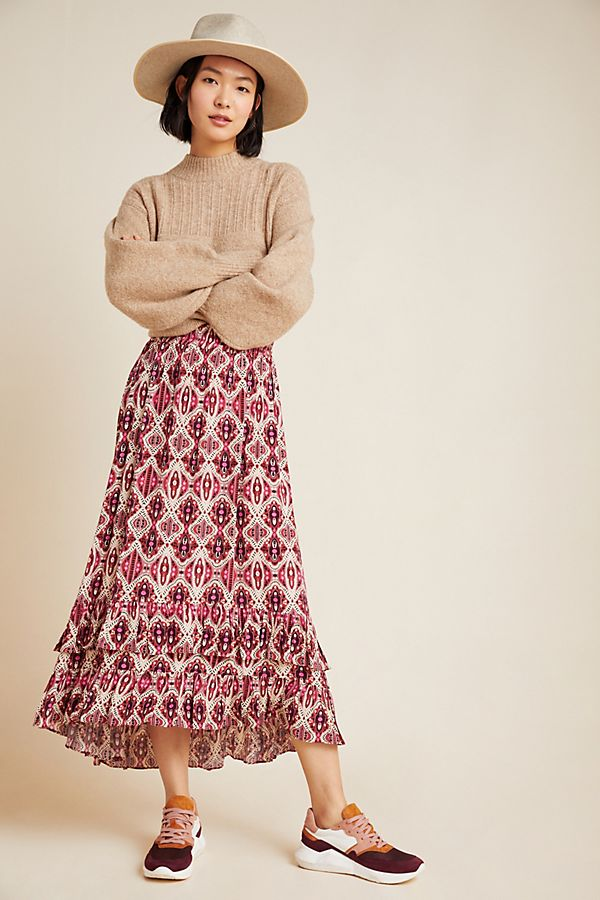 Slide View: 1: Shawna Ruffled Midi Skirt
